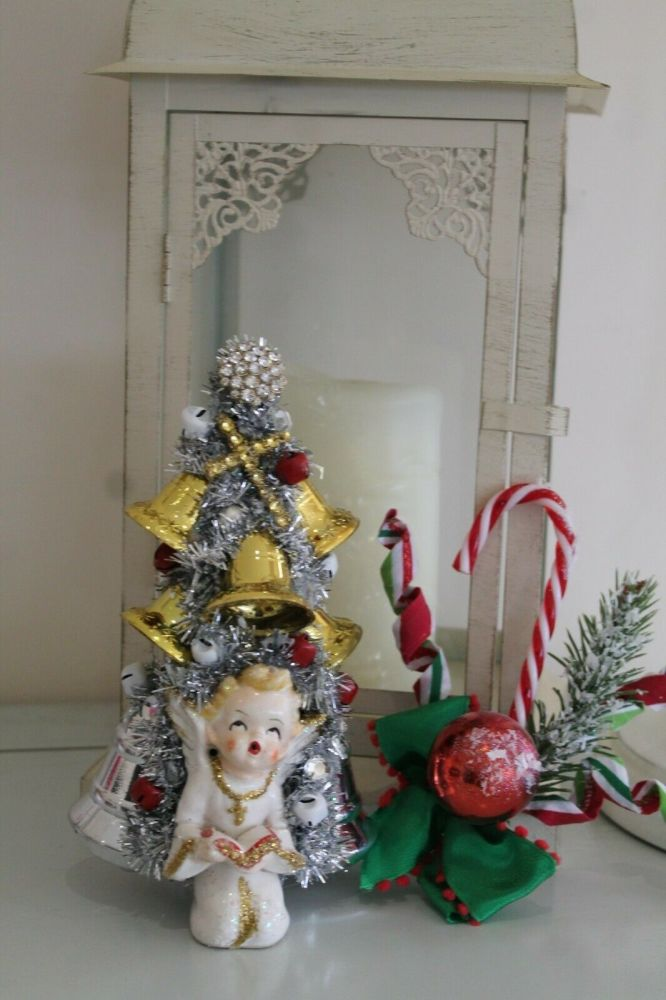 Christmas Vintage Angel Bottle Brush Tree with Bells Ornament