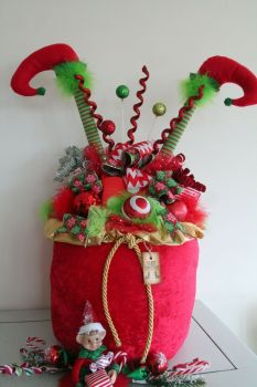 Whimsical Large Elf Legs Christmas Sack Ornament