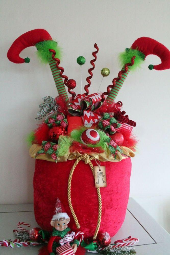 Whimsical Large Elf Legs Christmas Sack Ornament