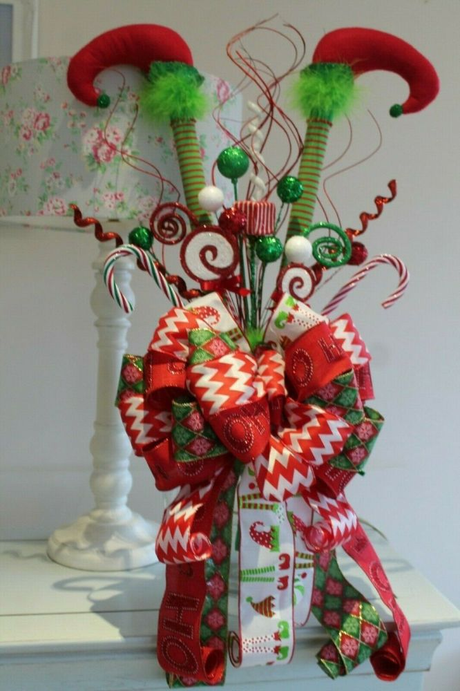 Whimsical Elf Legs Christmas Tree Topper