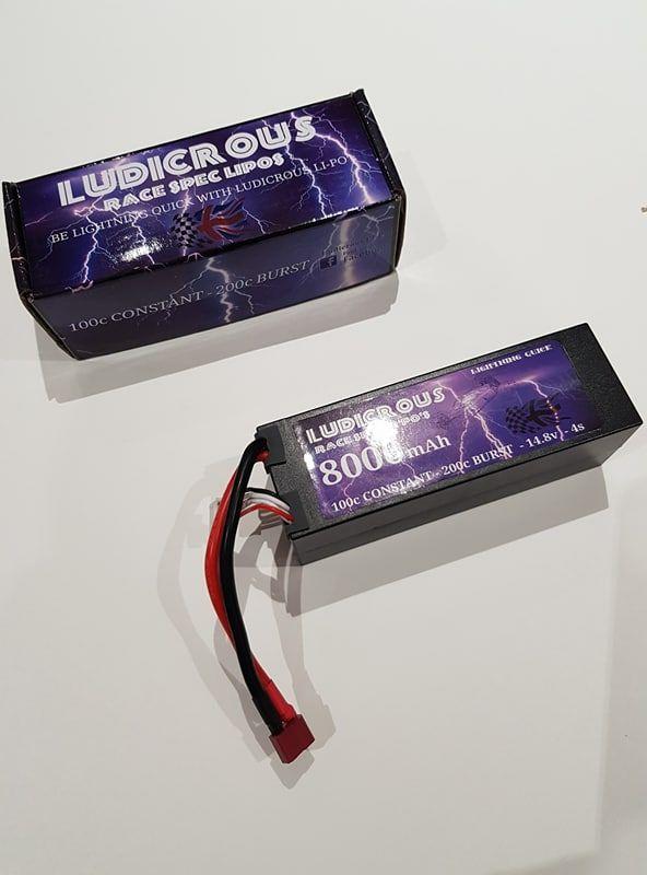 LUDICROUS 8000mAh 4s 14.8v RACE SPEC LIPO 100c constant 200c burst. 2c char