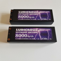 LUDICROUS 8000mAh 150c 4mm HARD CASE Race pack lipo 2S