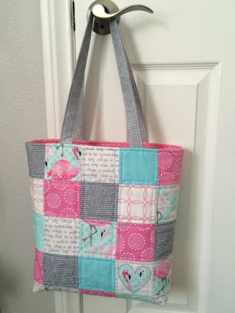 Patchwork Tote Bag with Zipper Pocket