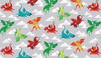 Makower Dragon Heart - Grey Dragons