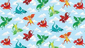 Makower Dragon Heart - Blue Dragons