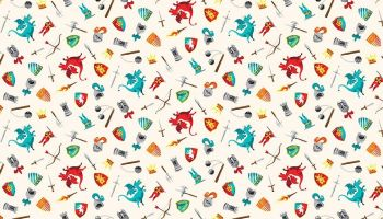Makower Dragon Heart - Cream Scatter Dragons & Knights