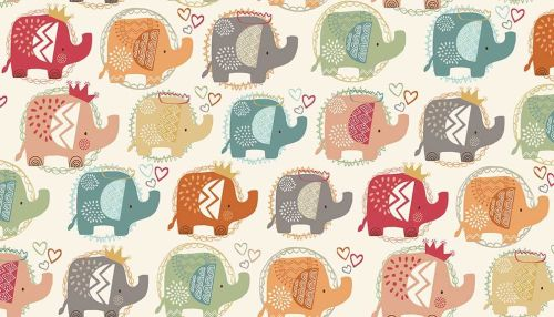 Makower 'Ellie' - Elephants cream