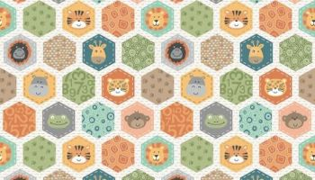 Makower - Jungle Friends - Hexagons Cream