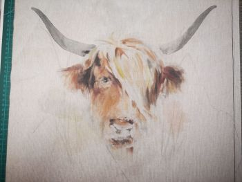 Highland Cow Linen Panel