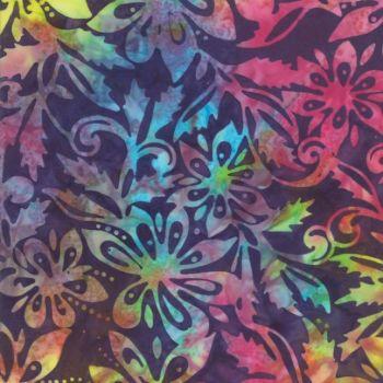 Job Lot - Santorini Batiks - Jewel 4355 50 rainbow flower with dark background  - 1m