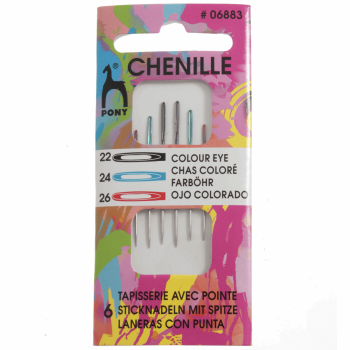 Hand Sewing Needles: Chenille: Colour-Coded Eye: Size 22/26