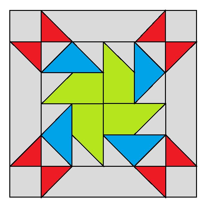 Rolling Pinwheel  Block Pattern