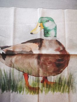 'Duck' Linen Fabric Panel