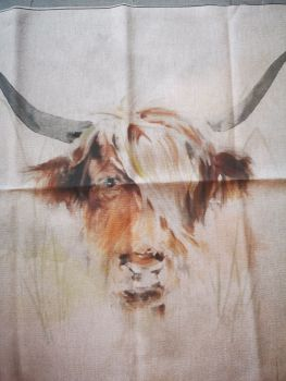 'Highland Cow' Linen Fabric Panel