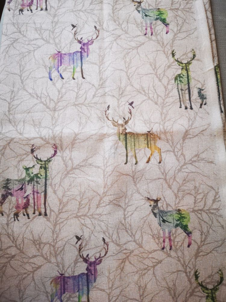 Stag in the Woods Linen Fabric