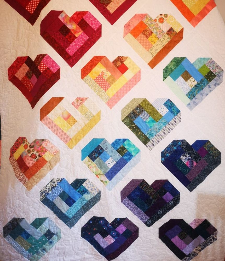 Scrappy Heart Log Cabin Quilt Pattern