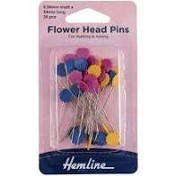 Hemline Flower Head Pins x36