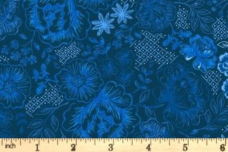 Lewis & Irene Teatime  A427.3 Teatime floral on darkest blue