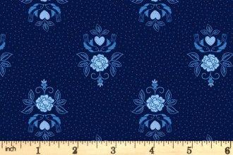 Lewis & Irene Teatime  A425.3  Little Bird Roses on Darkest blue