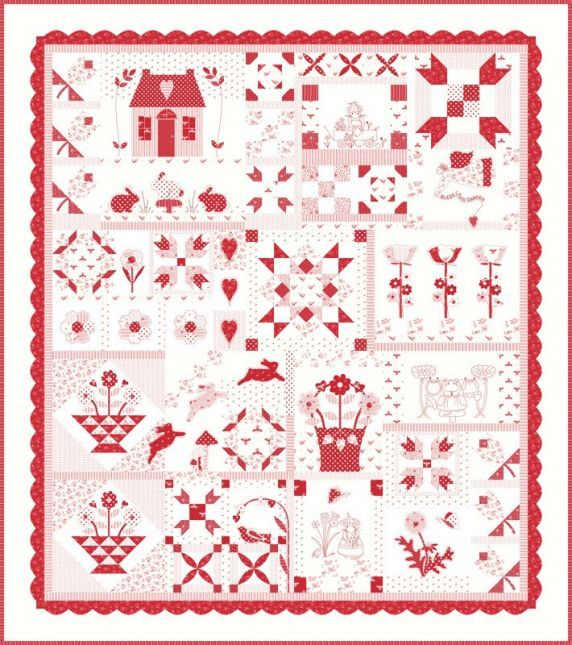 My Redwork Garden Quilt Kit By Bunny Hill Designs for Moda