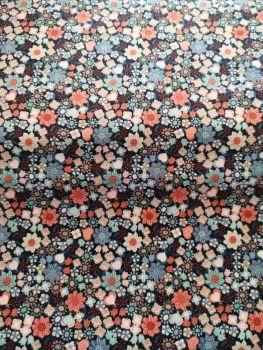 Lewis & Irene Rust & Blue on navy background Floral