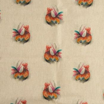 Rooster Linen Fabric
