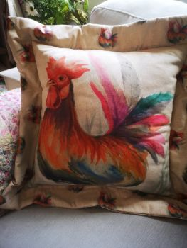 Rooster Linen Cushion with Deep Oxford Edge