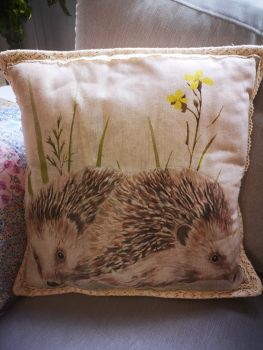 Hedgehog Linen Cushion with Cotton Lace Edge