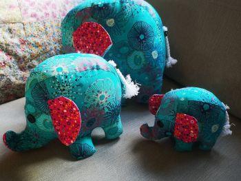 A trio of Elephants - Blue!