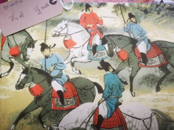 oriental horseman - heavy weight cotton fabric 2 .25 m x 1 .25 m