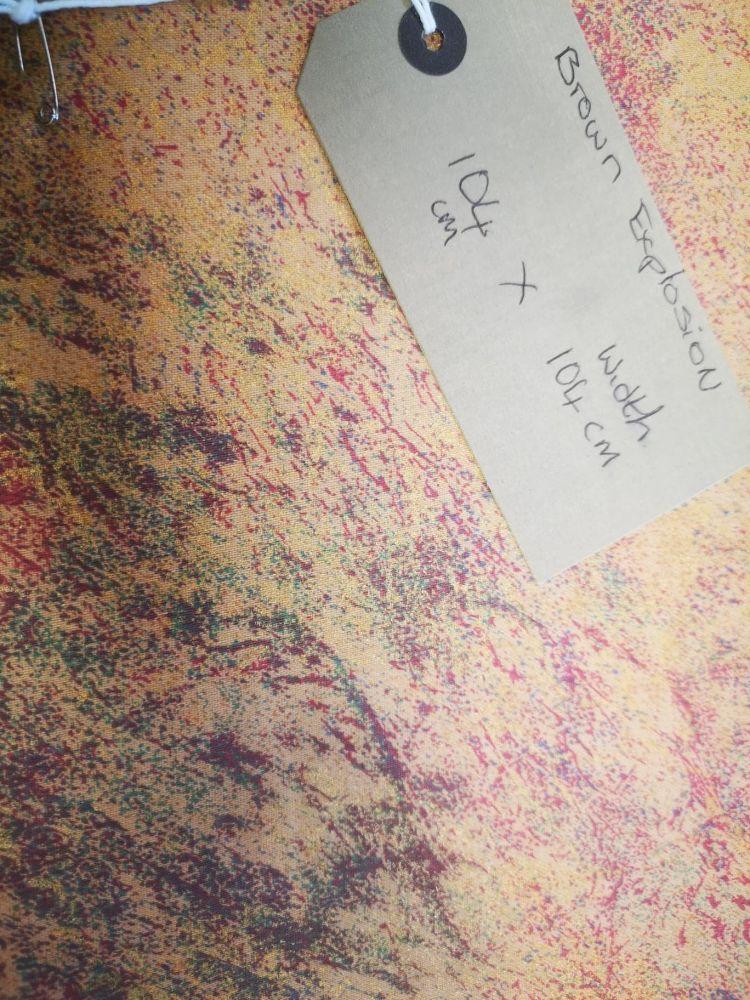tan metallic multi coloured splash heavy weight cotton fabric 1.04m x 1.04m
