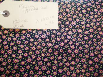 Navy & pink daisy small needlecord fabric remnant 1.5m x 1.5m