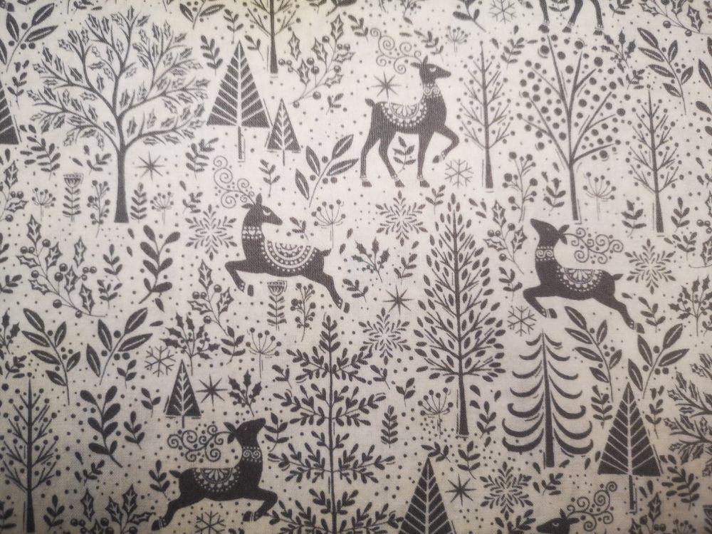 Makower Scandi Grey Reindeers on Cream D2216/S