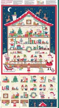 Makower Santa's Workshop Advent Panel - 60cm Panel