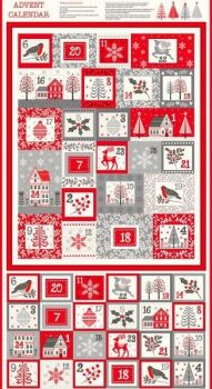 Makower Scandi Advent Panel - 60cm Panel with binding fabric