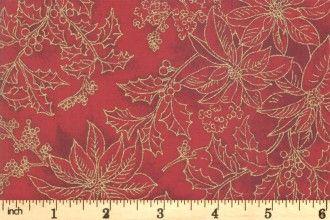 Moda Poinsettas & Pine - crimson  Poinsetta 33516 12