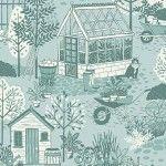 Clara's garden -  Scene in duck egg blue