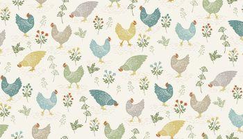 Clara's garden -  Chickens on white