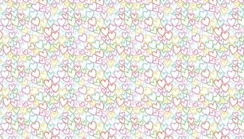 Daydream 2279/W coloured hearts on white