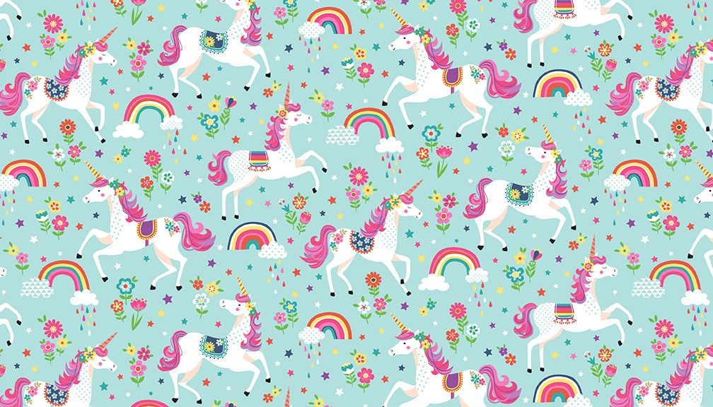 Daydream 2275/T Unicorns on Turquoise