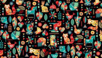Folk Friends by Makower 2300/X Animals on Black