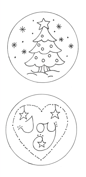 Eight Christmas Redwork Circles - Paper Copy Pattern