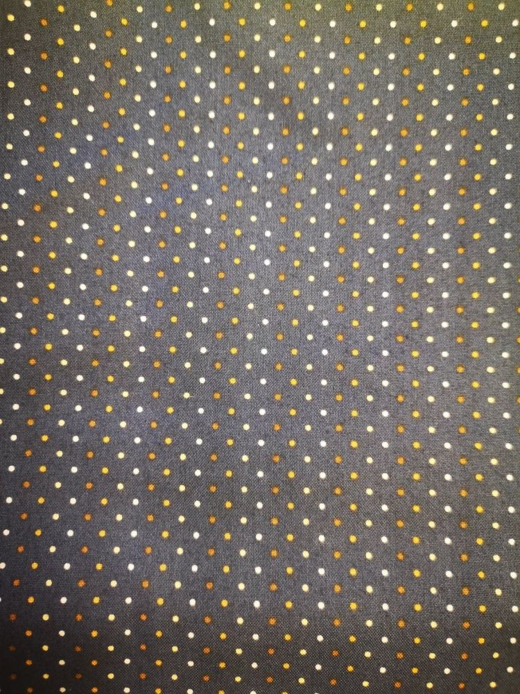 Makower Poppy Seed Pattern Navy with white/cream & brown small spots - Job