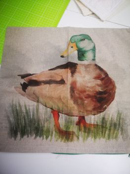 Duck Cushion Cover - Cotton linen ( no pad included) 17.5""