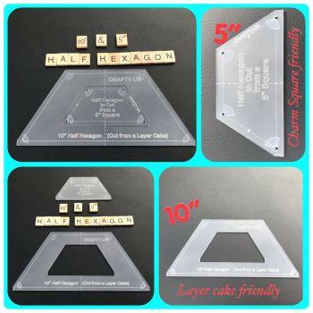 """10""""  Half Hexagon Ruler with 5"""" Half Hexagon Insert"""