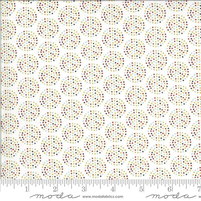 Animal Crackers By Sweetwater for Moda - Vanilla/multi colour dots Cotton