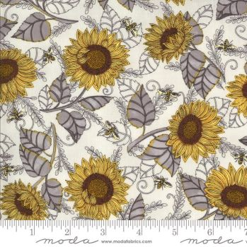 Bee grateful by Deb Strain for Moda - Pebble grey  & ivory sunflowers