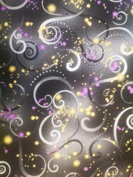 Dragon fly dance by Benartex black with grey & purple swirls