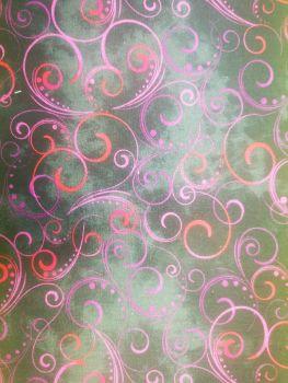Blooming Beauty by Benartex  - Swirling Splendour black with purple & red swirls