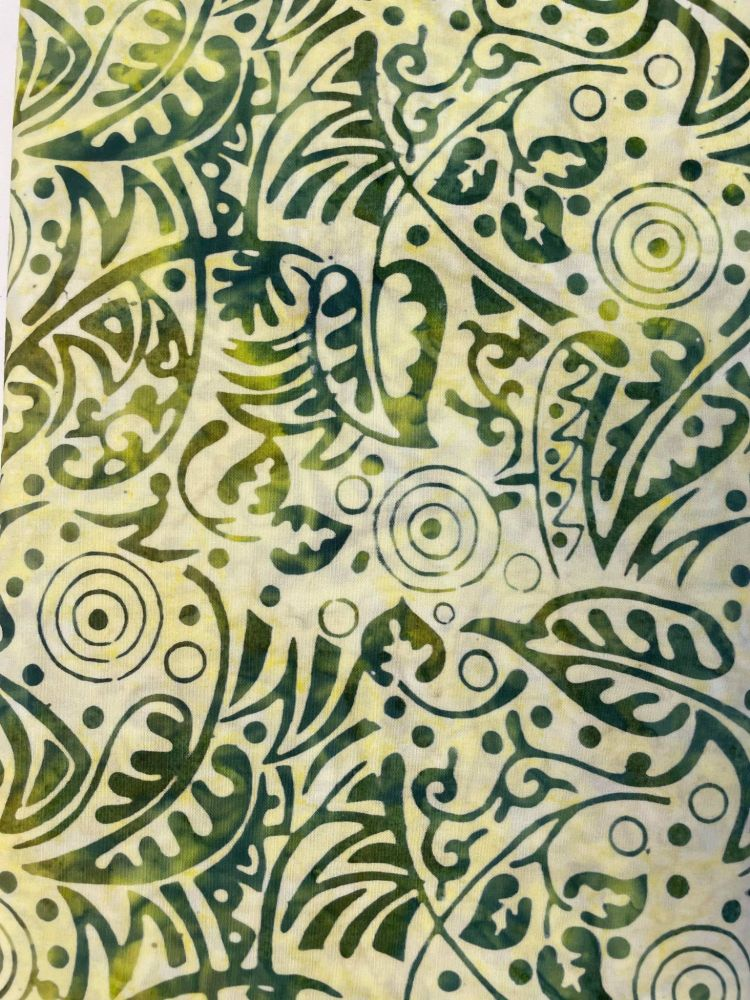 Batik - pale lime green with tropical fern